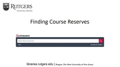Finding Course Reserves in the Libraries