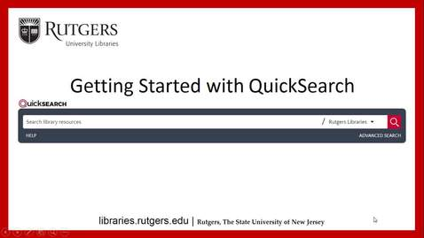 Thumbnail for entry Getting Started at the Libraries with QuickSearch