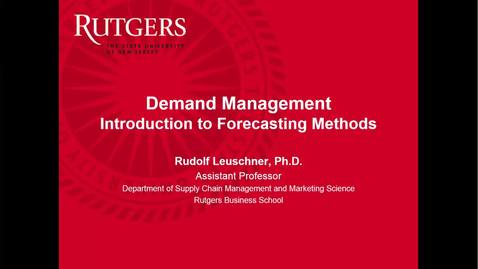 Thumbnail for entry Demand Management - Simple Forecasting Part 1