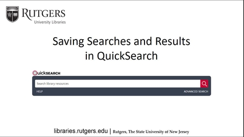 Thumbnail for entry Saving Library Searches and Results in QuickSearch