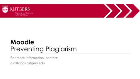 Thumbnail for entry Moodle - Preventing Plagiarism