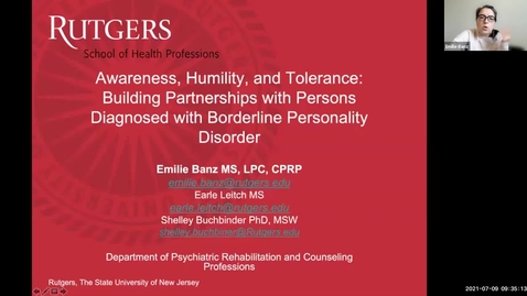 Thumbnail for entry Awareness, Humility, and Tolerance- Building Partnerships with Persons Diagnosed with Borderline Personality Disorder (7/9)