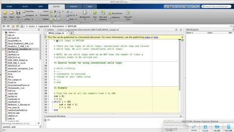 Conventional While Loops in MATLAB