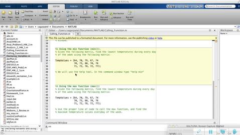 Calling Functions in MATLAB