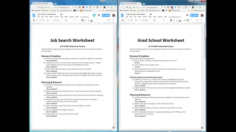 Thumbnail for entry Job and Graduate School Worksheet Instructions