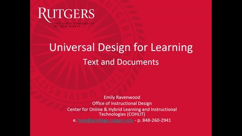 Thumbnail for entry Accessibility _ Universal Design for Learning (text and documents) .mp4
