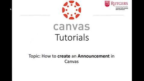 Thumbnail for entry Canvas - Create an Announcement 3-26-20