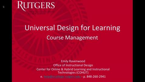 Thumbnail for entry Accessibility Universal Design for Learning (Course Management)