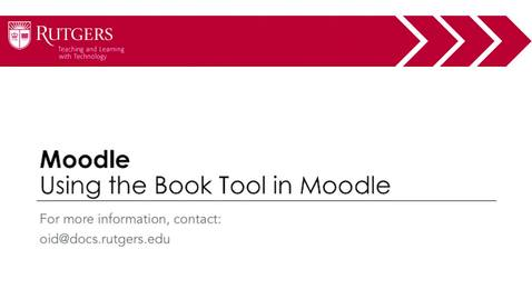 Thumbnail for entry Moodle - Using the Book Tool in Moodle