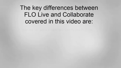 Transitioning to Collaborate from FLO Live