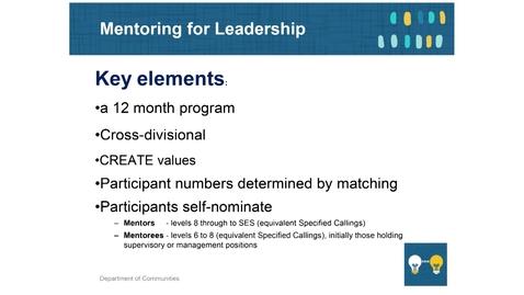 Thumbnail for entry Mentoring 4 - Mentoring for Leadership Program
