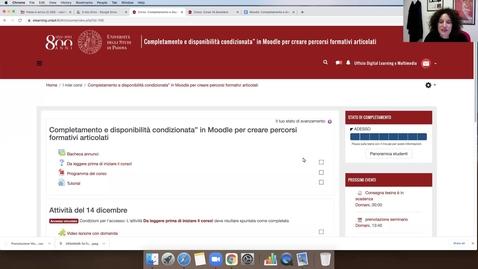 """Thumbnail for entry Moodle: Completamento e disponibilità condizionata"""" in Moodle per creare percorsi formativi articolati"""