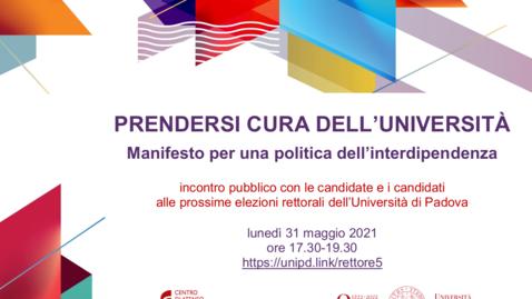 """Thumbnail for entry Dibattito su """"Prendersi cura dell'Università"""" con candidate/i alle elezioni rettorali"""