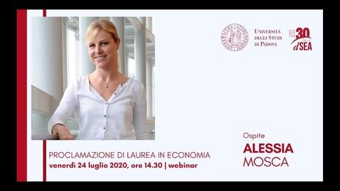 Thumbnail for entry Alessia Mosca, ospite della Cerimonia di Laurea in Economia - 24 luglio 2020