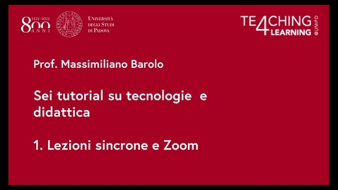 Thumbnail for entry 1. Lezioni sincrone e Zoom
