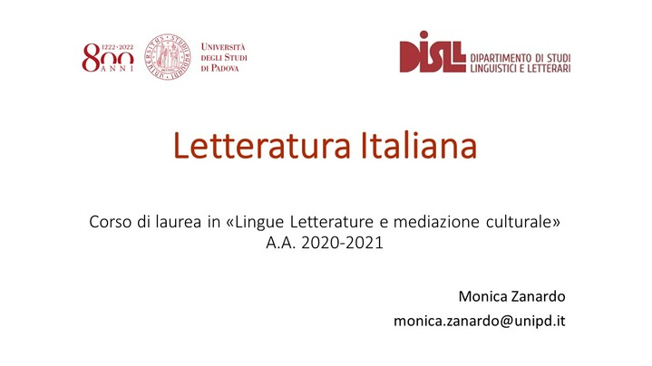 Thumbnail for channel Letteratura italiana (canale P-Z) 2020-2021