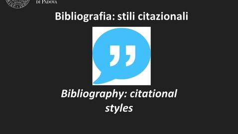 Thumbnail for entry Bibliografia: stili citazionali