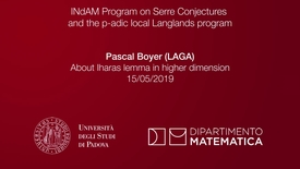 Thumbnail for entry 1.1 Pascal Boyer,  About Iharas lemma in higher dimension (part 1), 15 May 2019, INdAM Program