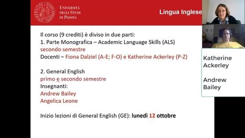 Thumbnail for entry Lingua e Letteratura inglese incontro 2 Presentazione alle matricole 2020-21