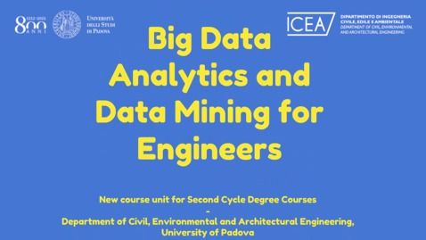 Thumbnail for entry Big data analytics data mining for engineers