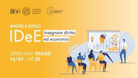 Thumbnail for entry Open Day Master IDEE - Insegnare Diritto ed Economia - 16/09/20