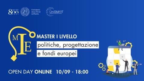 Thumbnail for entry Open Day Master MIE - Politiche, progettazione e fondi europei - 10/09/20