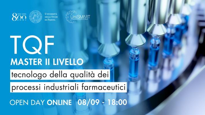 Open Day Master TQF - Tecnologo della qualità dei processi industriali farmaceutici - 08/09/20