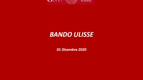 Thumbnail for entry Presentazione bando Ulisse 2020/21