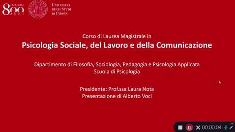 Thumbnail for entry Presentazione Psicologia Sociale, del Lavoro e della Comunicazione - M3 2020