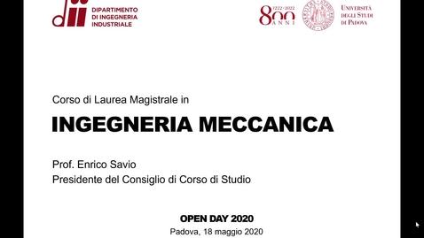 Thumbnail for entry Presentazione del Corso di Laurea Magistrale in INGEGNERIA MECCANICA - Open Day 2020