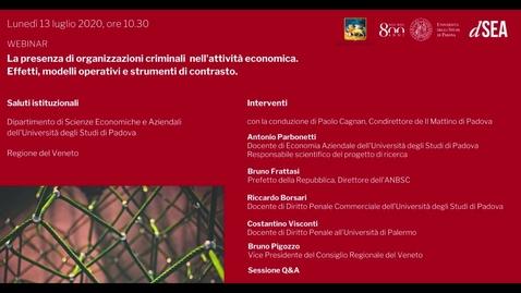 """Thumbnail for entry Webinar """"La presenza di organizzazioni criminali nell'attività economica: effetti, modelli operativi e strumenti di contrasto"""""""