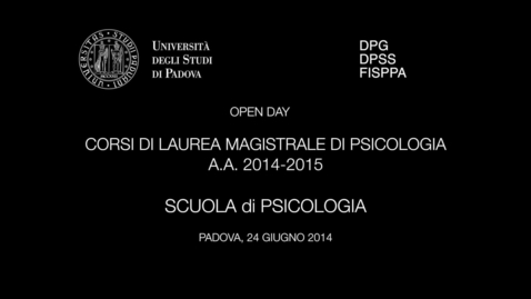 Thumbnail for entry OPEN DAY PSICOLOGIA 2014