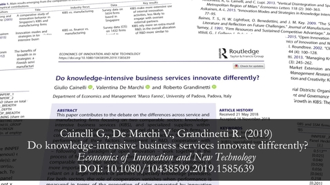 Thumbnail for entry Do knowledge intensive business services innovates differently?