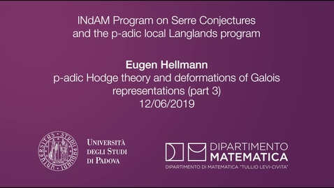 Thumbnail for entry 4.9 Eugen Hellmann, p-adic Hodge theory and deformations of Galois representations (part 3), 12 June 2019, INdAM Program
