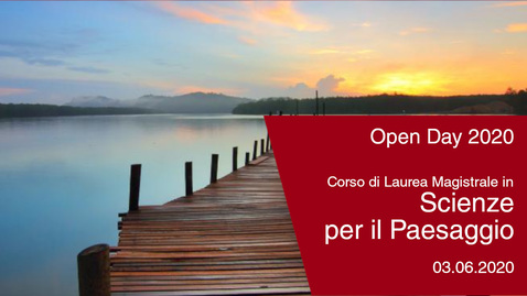Thumbnail for entry #Openday2020 | Scienze per il paesaggio. 3 giugno 2020