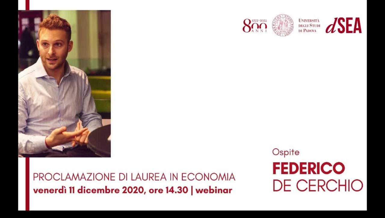 Federico De Cerchio, ospite della Cerimonia di Laurea in Economia - 11 dicembre 2020