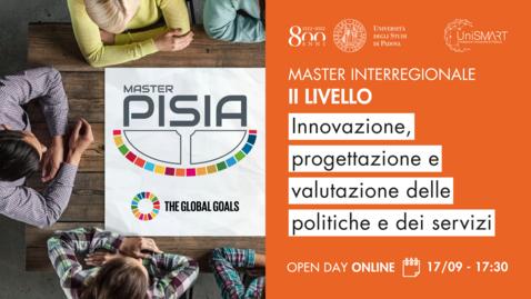 Thumbnail for entry Open Day Master PISIA - Innovazione, progettazione e valutazione delle politiche e dei servizi - 17/09/20