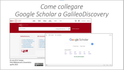 Thumbnail for entry Collega Google Scholar a GalileoDiscovery