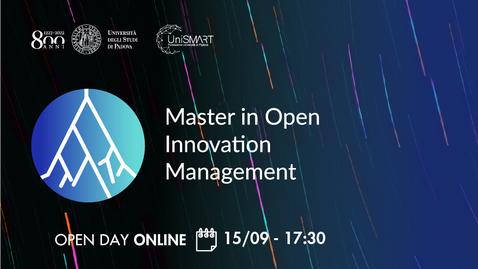 Thumbnail for entry Open Day Master MOIM - Open Innovation Management - 15/09/20