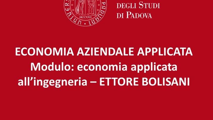 Thumbnail for channel ECONOMIA AZIENDALE E APPLICATA - LEZIONI ETTORE BOLISANI