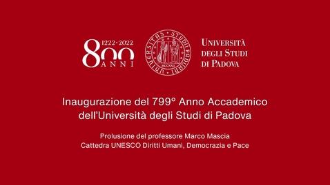 Thumbnail for entry Inaugurazione del 799° anno accademico: prolusione del prof. Marco Mascia, 16 aprile 2021