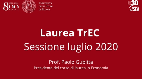 Thumbnail for entry Laurea TrEC: sessione estiva, luglio 2020