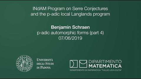 Thumbnail for entry 3.16 Benjamin Schraen, p-adic automorphic forms (part 4), 7 June 2019, INdAM Program