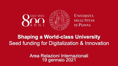 Thumbnail for entry Shaping a World-Class University - Seed funding for Digitalization & Innovation