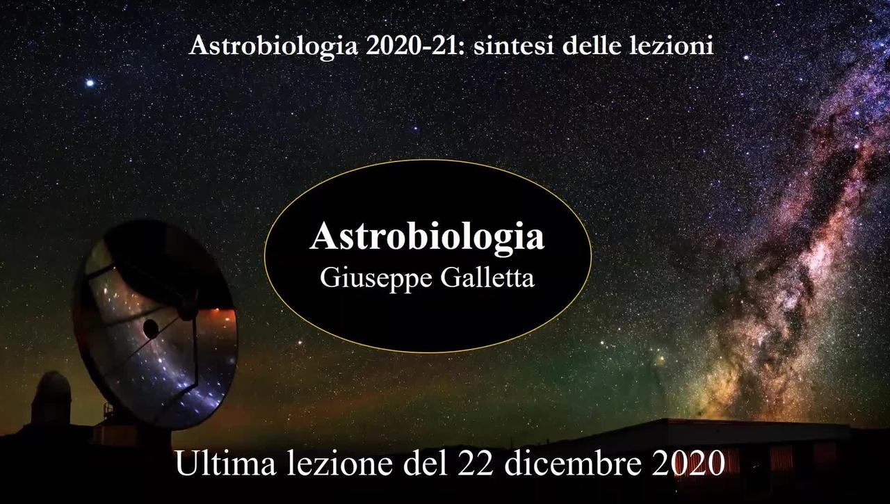 Ultima Lezione di Astrobiologia del Prof.  Giuseppe Galletta