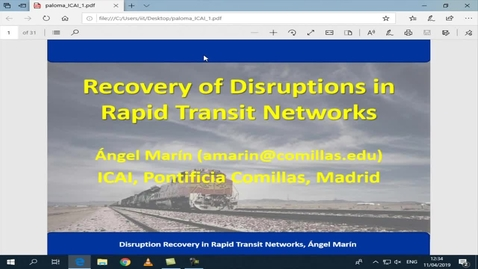 Miniatura para la entrada Seminario divulgativo Angel Marín 11/04/2019: Rail smoot and controlled recovery