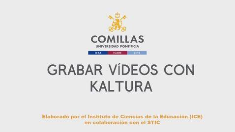 Miniatura para la entrada Grabar vídeos con Kaltura