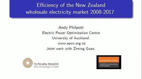 Miniatura para la entrada Seminario divulgativo Andy Philpott  17/06/2019: Efficiency of the New Zealand wholesale electricity market 2008-2017