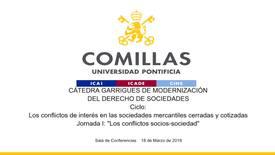 """Miniatura para la entrada Cátedra Garrigues. """"Los conflictos de interés en las sociedades mercantiles cerradas y cotizadas."""" 18/03/2019"""