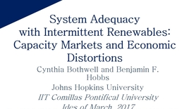 Miniatura para la entrada Aula de investigación B. Hobbs 2017/03/15: Crediting Renewables in Electricity Capacity Markets:The Effects of Alternative Definitions upon Market Efficiency